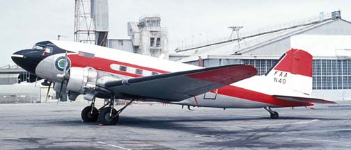 FAA DC-3, N40, Oakland International Airport, August 6, 1973