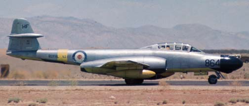 Gloster Meteor NF Mk 11, N94749 at the Mojave Airport, June 21, 1975