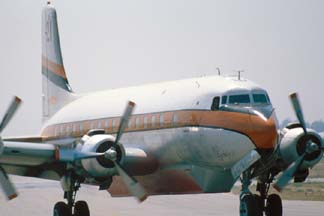 Douglas DC-6, N90MA Tanker d21 at the Goleta Tanker Station on July 30, 1980