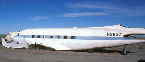 Fuselage of DC3, N982Z, el Mirage Airport, November 26, 1980