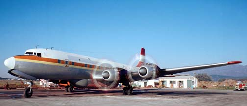 Douglas DC-7C, N5903 Tanker 35 at the Goleta Tanker Station on November 28, 1980