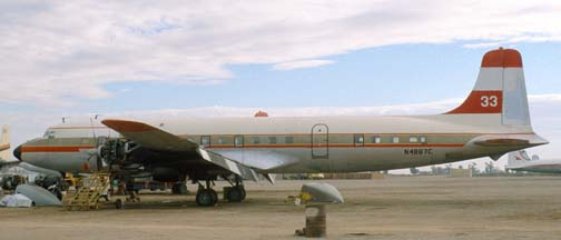 Douglas DC-7B, N4887C Tanker 33 at the Gila Bend Indian Reservation Memorial Airport on December 30, 1981