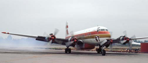 Douglas DC-7B Tanker 67 at the Goleta Tanker Station in October 1982