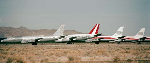 3 Convair 880s and a Convair 990 in storage at Mojave, California on December 28, 1982