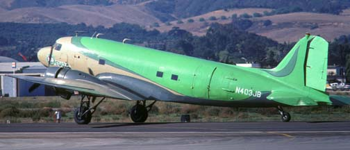 DC-3C, N403JB Pegasus, Santa Barbara Airport, October 16 1985