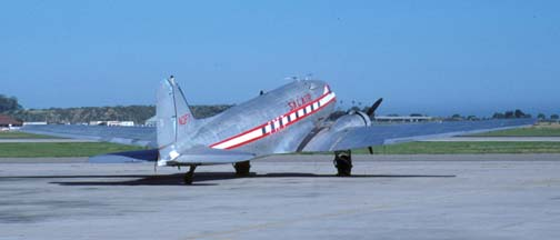 Salair DC-3C, N3FY, Santa Barbara Airport, May 10, 1988