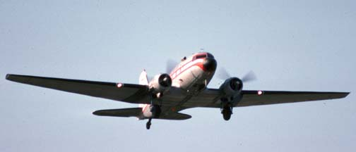 Salair DC-3C, N3FY, Santa Barbara Airport, May 23, 1988