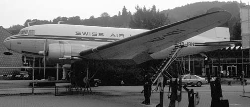 Swiss Air DC-3, HB-IRN, Swiss Transportation Museum, Lucerne, June 26, 1989