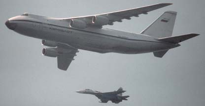 Antonov An-124, RA82031 with Su-27 of the Russian Knigts, Tushino, August 18, 1996