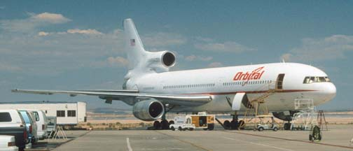 Orbital Sciences' L-1011, Stargazer on the flightline at NASA Dryden FRC on July 29, 1997