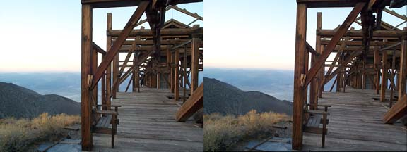 Stereo view of the Saline Salt Tram Station in the Inyo Mountains