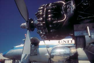 Wright R-3350 turbo-compound engine on Lockheed C-121C Constelation, N73544