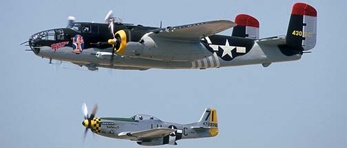 North American B-25J Mitchell, N30801 Executive Sweet and P-51D, N471R Huntress III