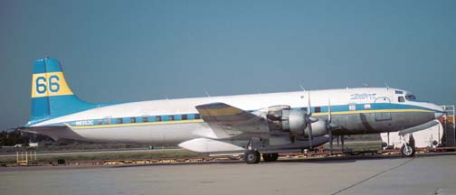 Douglas DC-7B, N6353C Tanker 66 at the Goleta Tanker Station on September 26,2003