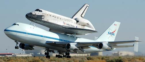 Space Shuttle Discovery Departs from Edwards Air Force Base
