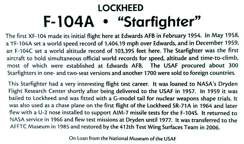 F-104A Starfighter plaque