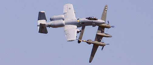 Lockheed P-38J NX138AM Lightning 23 Skidoo and Fairchild-Republic A-10A Thunderbolt II of the 355th Fighter Wing