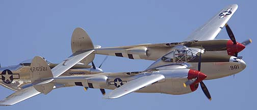 Lockheed P-38L Lightning NL7723C and North American P-51D Mustang NL7722C