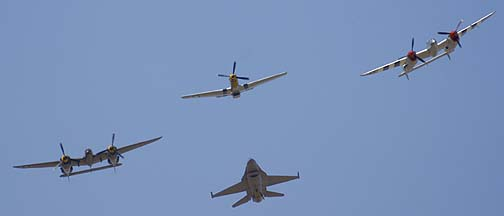 North American P-51D Mustang NL7TF Double Trouble Two, Lockheed P-38L Lightning NL7723C,  Lockheed P-38J Lightning NX138AM 23 Skidoo, and General Dynamics F-16C Block 40C Fighting Falcon 88-0457