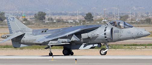 McDonnell-Douglas AV-8B Harrier BuNo 163868 #22 of Marine Attack Squadron 311 Tomcas, Mesa Gateway Airport, March 11, 2011