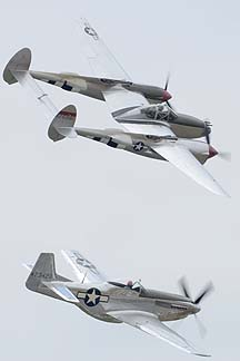 North American P-51D Mustang NL7722C and Lockheed P-38L Lightning NL7723C Honey Bunny, May 14, 2011