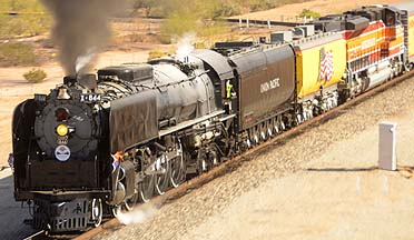 Union Pacific Steam Looomotive 844 and Southern Pacific 1996 SD70ACe Diesel, November 15, 2011