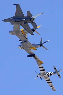 North American P-51D Mustang N51JB Bald Eagle, North American F-86E Sabre NX1F, F-86F N186AM, and General Dynamics F-16C Viper 91-0398 from Shaw Air Force Base, Davis-Monthan Air Force Base, March 4, 2012
