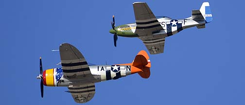 Republic P-47D Thunderbolt N4747P Tarheel Hal and North American P-51D Mustang N4151D Galveston Gal, Davis-Monthan Air Force Base, March 4, 2012