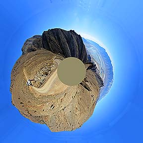 Little planet view of the upper reaches of the Cerro Gordo Road, November 16, 2014
