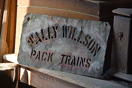 Sign for Wally Wilson Pack Trains, November 16, 2014