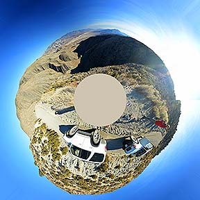 Little planet view of the panorama of the Panamint Valley, November 16, 2014