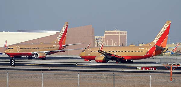 Southwest Boeing 737-7H4s N711HK and N792SW, Phoenix Sky Harbor, December 22, 2014