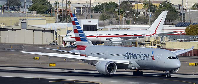 American Airlines' first Boeing 787-823 N800AN and Honeywell Boeing 757-225 N757HW, Phoenix Sky Harbor, March 7, 2015