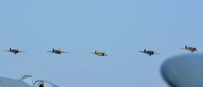 Curtiss P-40 Warhawks: P-40N NL1195N, P-40N NL85104, P-40K N401WH, P-40E NX94466, and P-40E N940AK., April 29, 2016