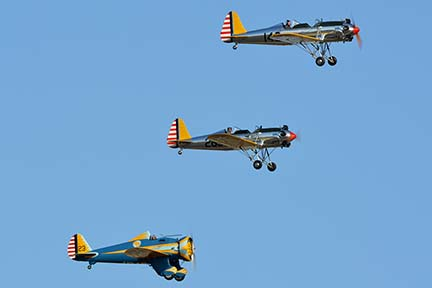 Ryan PT-22 (ST3KR) N48777 146 and N48742 269 and Boeing P-26 Pea Shooter N3378G, April 29, 2016