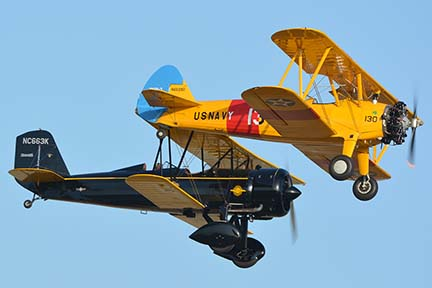 Stearman VN2S-3 N66290 130 and Stearman 4E Junior Speedmail NC663K, April 29, 2016