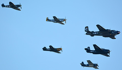 Texas Flying Legends: Supermarine Spitfire LF9C N959RT, North American P-51D Mustang NL151HR Dakota Kid II/Long Island Kid, North American B-25J Mitchell N5672V Betty's Dream, General Motors TBM-3E Avenger N7226C, General Motors FM-2 Wildcat N5HP Kimberly Brooke, and Curtisss P-40K Warhawk N401WH, April 29, 2016