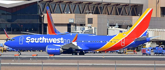 Southwest Boeing 737-8 Max N8708Q, Phoenix Sky Harbor, October 10, 2017