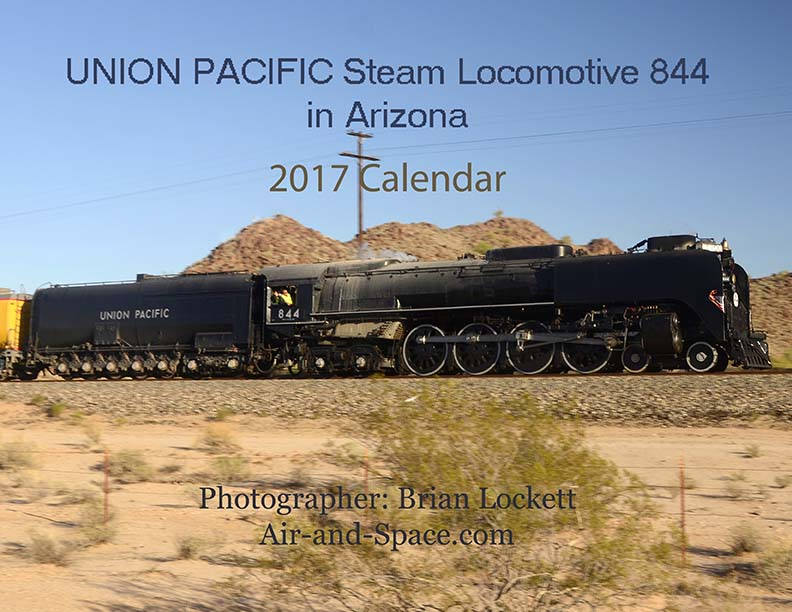 Lockett Books Calendar Catalog: Union Pacific Steam Locomotive 844 in Arizona