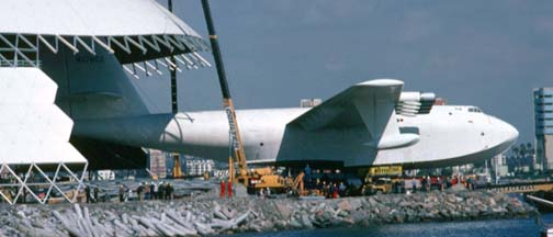 Howard Hughes' Flying Boat is moved into its new hangar